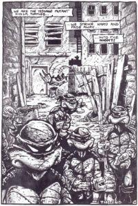 Den afsluttende side i første nummer af Teenage Mutant Ninja Turtles fra 1984