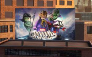 De nye Guardians of the Galaxy-sæt blev allerede antydet I computerspillet Lego Marvel Super Heroes, hvor dette billboard kunne ses i spillets udgave af New York.