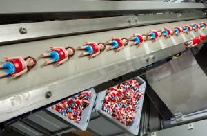 Playmobil-figurer bliver fremstillet på Playmobils egen fabric på Malta. De fleste figurer samles af maskiner, og det tager cirka 1,5 sekunder at samle en figur. Men enkelte figurer må grundet specialelementer stadig samles i hånden, hvilket tager cirka 18 sekunder. Der produceres 100 millioner Playmobil-figurer om året, og siden Playmobil blev opfundet i 1974 er det blevet til i alt 2,7 milliarder figurer.