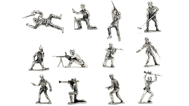 Klassiske soldaterfigurer i sølv (1)