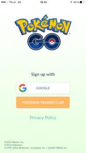 Opret dig med Google eller Pokémon Trainer Club
